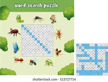 Word search puzzle about bugs animals