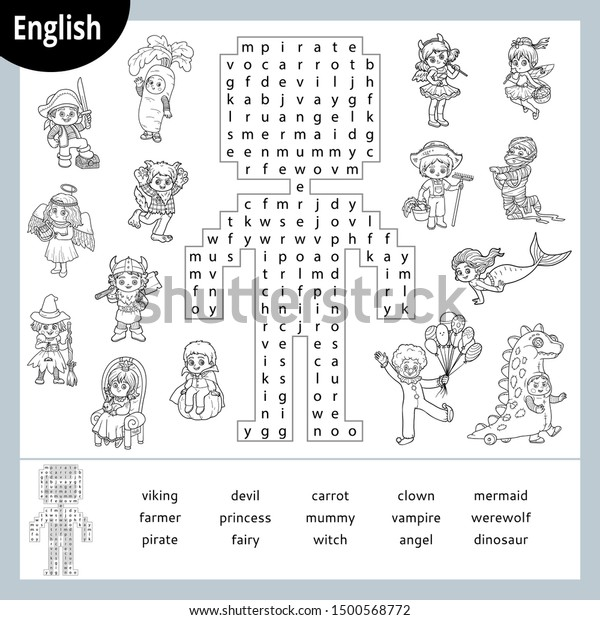 Word Search Puzzle Cartoon Characters Halloween Stock Vector
