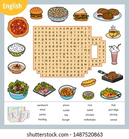Word search puzzle. Cartoon set of food, burger, pizza, pasta, salad. Education game for children. Vector colour worksheet for learning English