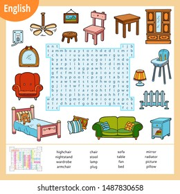 Word search puzzle. Cartoon set of furniture, sofa, bed, wardrobe, table, chair. Education game for children. Vector colour worksheet for learning English