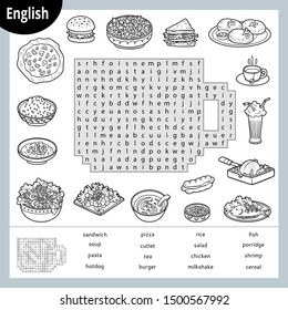 Word search puzzle. Cartoon set of food, burger, pizza, pasta, salad. Education game for children. Vector black and white worksheet for learning English