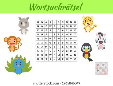 Wortsuchrätsel - Word search puzzle. Kids activity worksheet colorful printable version. Educational game for study German words. Includes answers. Vector stock illustration