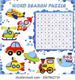 Word search puzzle. Vector education game for children. Transport