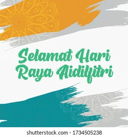 Word Selamat Hari Raya Aidilfitri in Malay, in English is Eid Mubarak with white background and abstract background design with blue and yellow splash colour. New Design vector ilustration.
