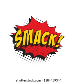 word smack in retro comic speech bubble with halftone dotted shadow