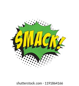 word smack in retro comic speech bubble with halftone dotted shadow on white background