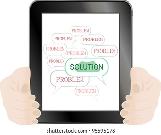 The word SOLUTIONS in tablet pc holding on hand