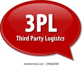 word speech bubble illustration of business acronym term 3PL 3rd Party Logistics vector