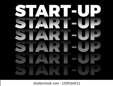 the word start up in repetitive form, vector text in black background