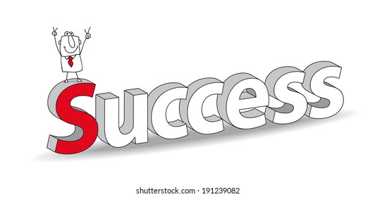 """Word """"Success"""" in a 3d style with Joe the businessman. Ideal for a title. It illustrates the concept of  the success"""