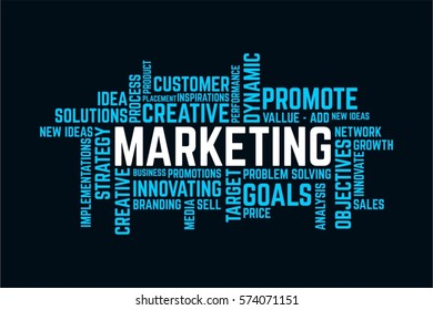 word of success marketing, marketing typography text word art vector marketing illustration