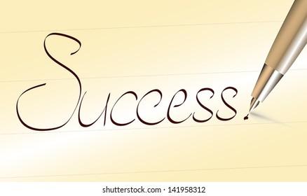 Word success written by pen