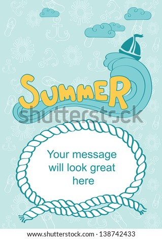 word summer on wave sea background stock vector royalty free