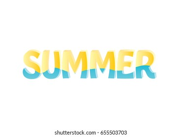 the word summer in yellow and blue