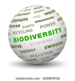 Word tag cloud on 3d sphere. Biodiversity concept