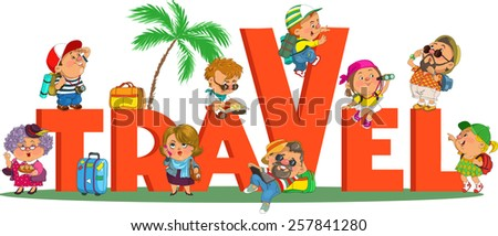word travel funny tourists funny cartoon stock vector royalty free