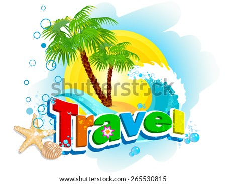 word travel on background palm trees stock vector royalty free
