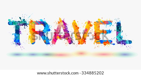 word travel rainbow splash paint stock vector royalty free