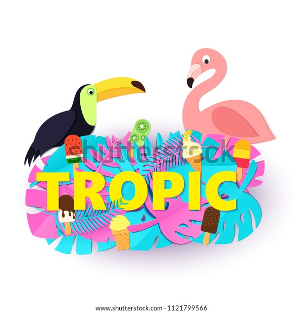 Word TROPIC composition with creative pink blue jungle leaves ice cream toucan flamingo on white background in paper cut style. Yellow letters for banner, flyer T-shirt printing. Vector illustration.