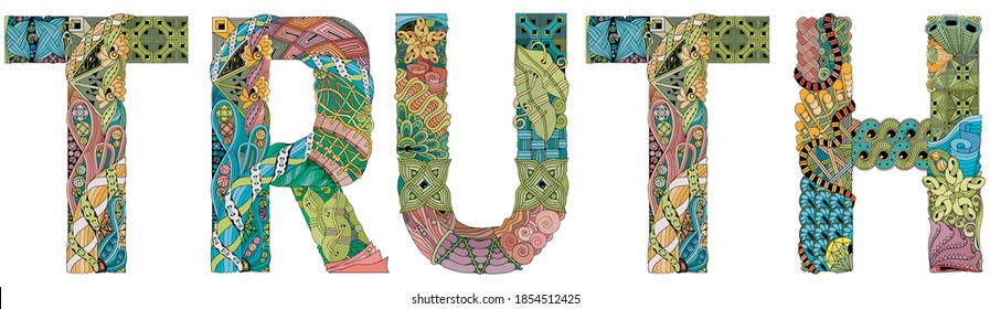 Word truth. Vector zentangle object for decoration