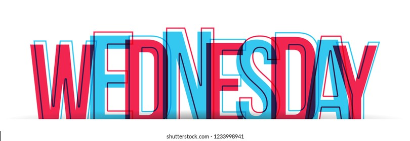 The word WEDNESDAY in two colors, isolated on a white background