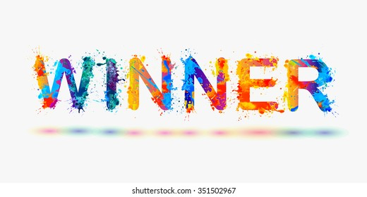 "Word ""Winner"". Rainbow splash paint"
