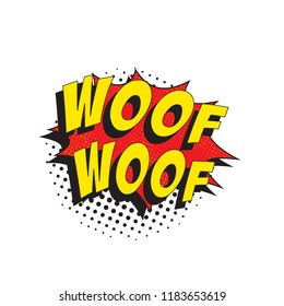 word woof woof in retro comic speech bubble with halftone dotted shadow