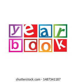 word of Yearbook design for year book cover logo Vector background illustrations