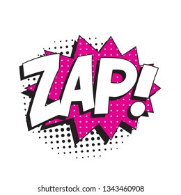 word 'zap' in vintage comic speech bubble with halftone dotted shadow on white background. retro vector pop art illustration easy to edit and customize. eps 10