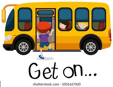 Wordcard for get on with boy getting on schoolbus illustration