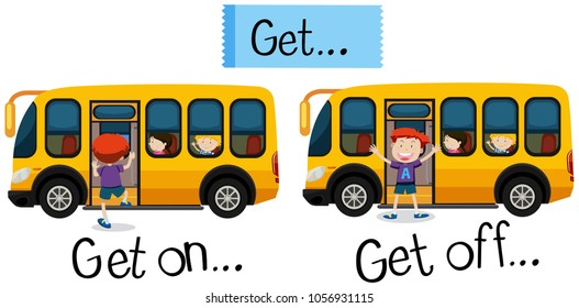 children getting of the schoolbus stock illustrations images