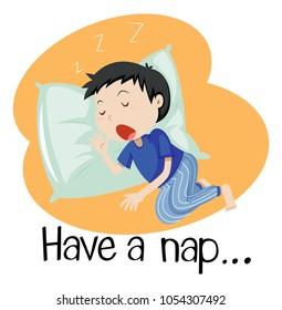 Wordcard for have a nap illustration