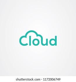 Wordmark cloud icon logo design
