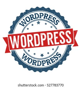 Wordpress grunge rubber stamp on white background, vector illustration