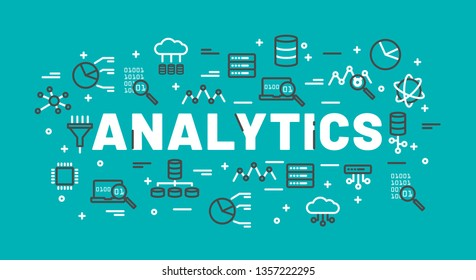 The words Analytics surrounded by icons of database, cloud computing, server, network icons. Vector background illustration.