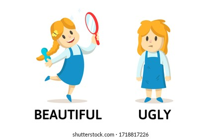 Words BEAUTIFUL and UGLY flashcard with text cartoon characters. Opposite adjectives explanation card. Flat vector illustration, isolated on white background.