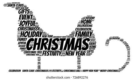 Words cloud, Christmas concept made with sled shape and tags on white background.