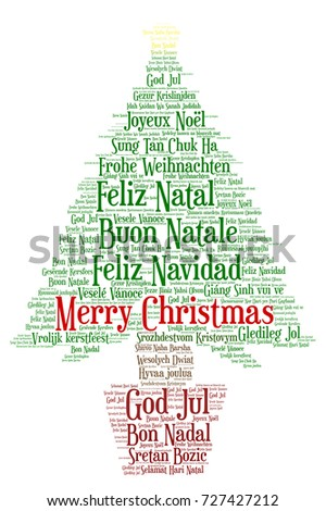 Words Cloud Merry Christmas All Languages Stock Vector (Royalty Free ...
