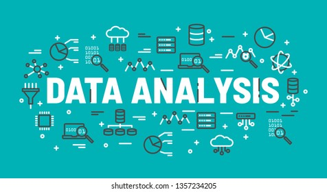 The words Data Analysis surrounded by icons of database, cloud computing, server, network icons. Vector background illustration.
