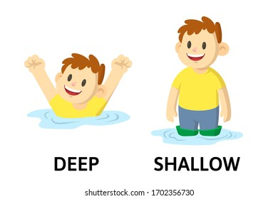 Words deep and shallow textcard with cartoon characters. Opposite adjectives explanation card. Flat vector illustration, isolated on white background.