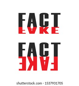 Words fact and fake propaganda lettering for news concept of balance between truth and falsehood