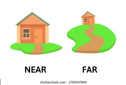 Words far and near opposites flashcard with cartoon house. Opposite adverbs explanation card. Flat vector illustration, isolated on white background.