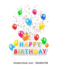 The words Happy Birthday with balloons, confetti and tinsel on white background, illustration.