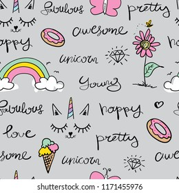 Words like awesome, fabulous, happy, pretty and drawings like flower, unicorn, donut, butterfly / Seamless repeating pattern texture / Vector illustration design