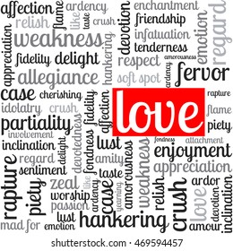 words of love. emotions, feelings