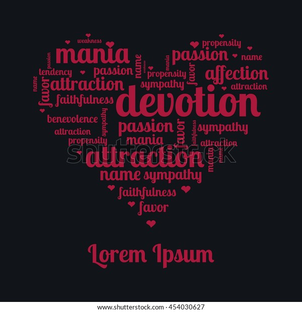 Words Love Emotions Feelings Background Drawing Stock Vector
