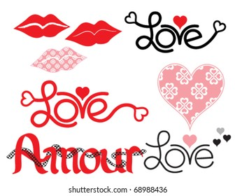 Words of Love,  Lips, and a Heart with custom pattern.