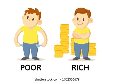 Words poor and rich textcard with cartoon characters. Opposite adjectives explanation card. Flat vector illustration, isolated on white background.