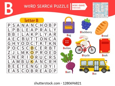 Words puzzle children educational game. Learning vocabulary. Letter B. Cartoon objects on a letter B.