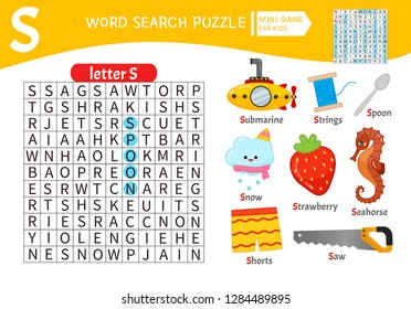 Words puzzle children educational game. Learning vocabulary. Letter S. Cartoon objects on a letter S.